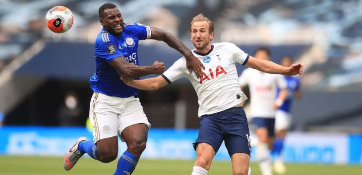 Wes Morgan (Leicester City) contre Harry Kane (Tottenham)