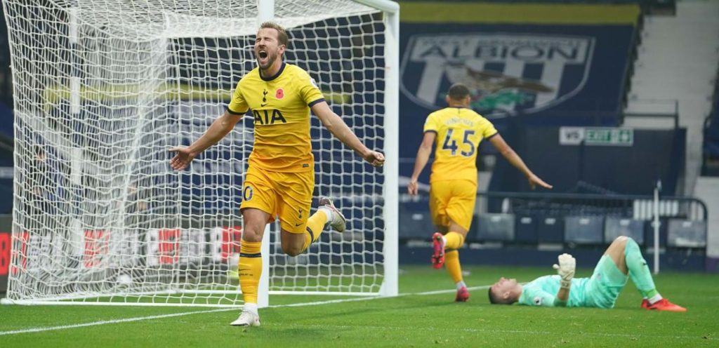 Harry Kane célèbre son but contre West Bromwich.